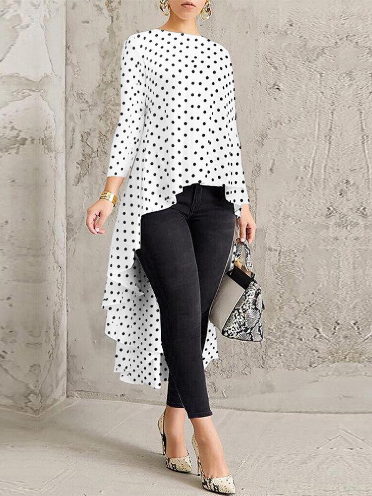 Print Polka Dot High Low Long Sleeve Plus Size Blouse