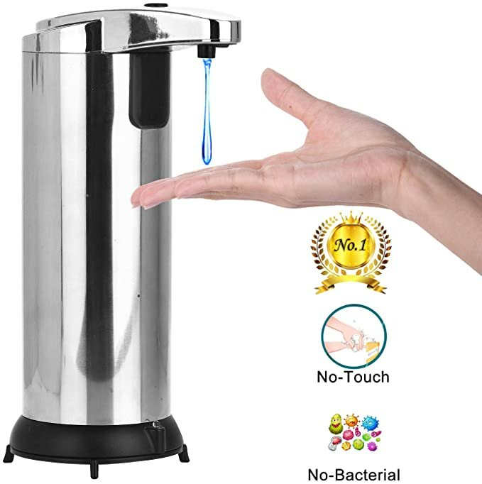 Automatic Soap Dispenser, Touchless Soap Dispenser Equipped with Stainless Steel, Infrared Motion Sensor Soap Dispenser with 4 Adjustable Dispensing Volume for Bathroom Kitchen Hotel