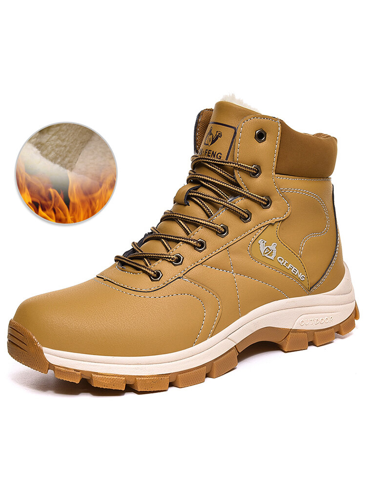 Men Outdoor Warm Lined Slip Resistant Winter Hiking Boots
