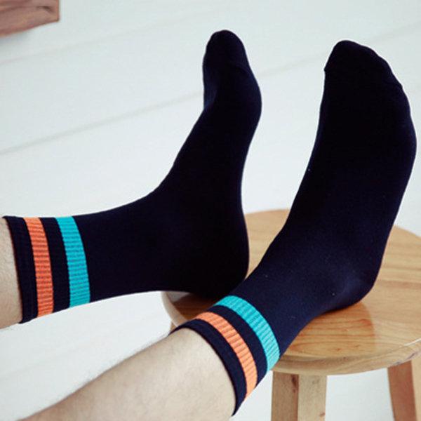 Cotton Breathable Deodorant Colour Stripe Middle Tube Socks For Men