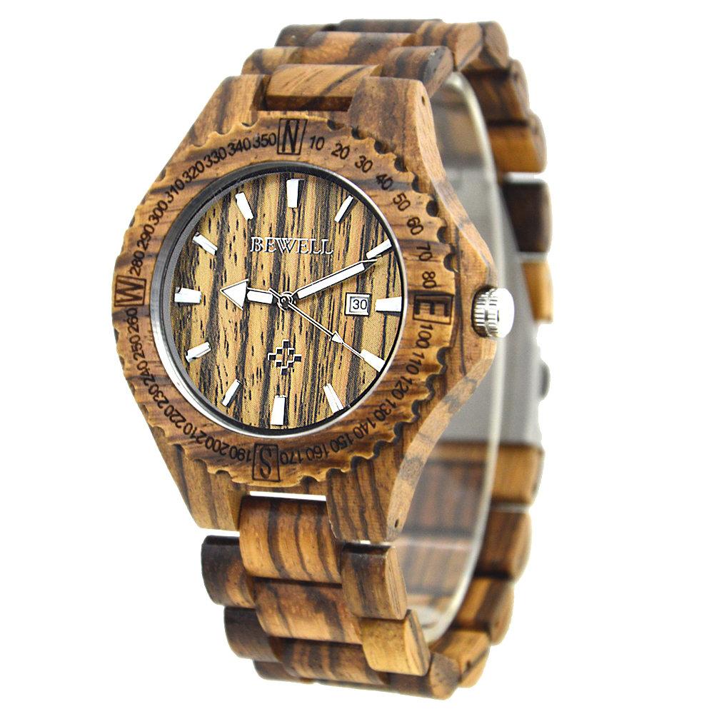 BEWEll Luxury Men's Natural Wooden Watches Quartz Date Analog Trendy Luminous Watches for Men