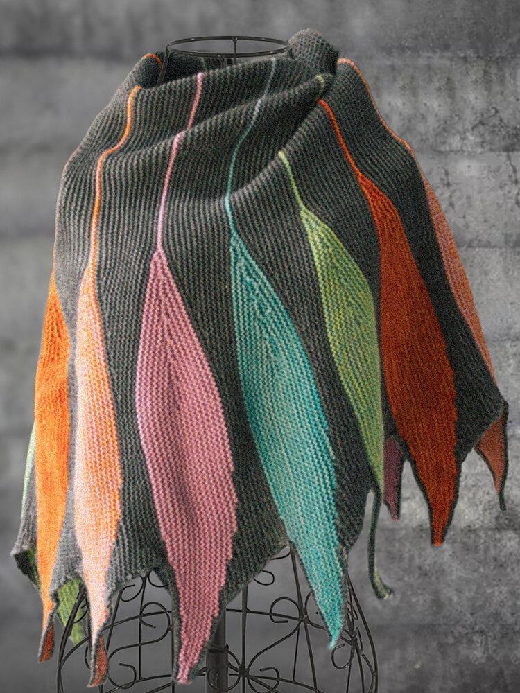 Sciarpe e scialli a blocchi di colore lavorati a maglia casual