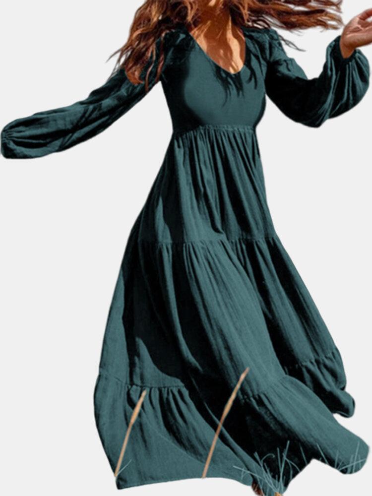Solid Color V-neck Plus Size Dress for Women