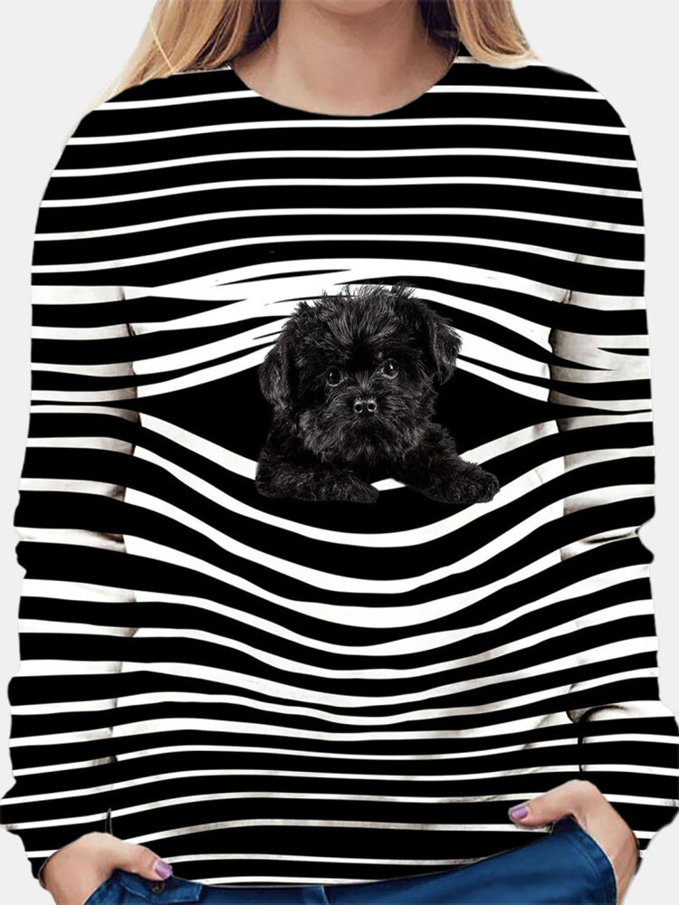 Stripe Dog Print Casual Long Sleeve O-neck T-shirt For Women