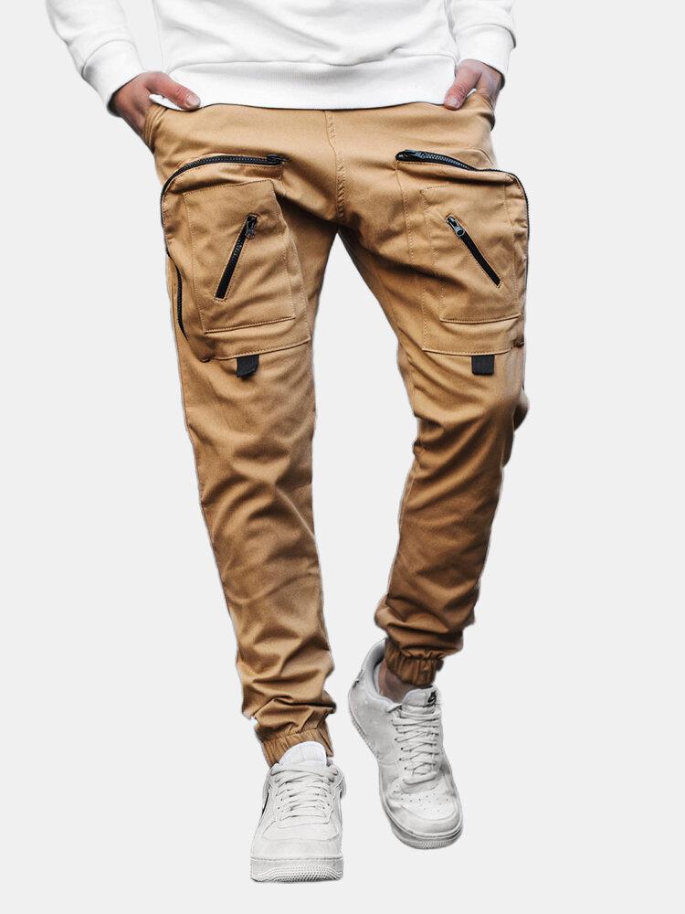 Mens Design Overall Elastic Drawstring Waist Tooling Pocket Cargo Pants