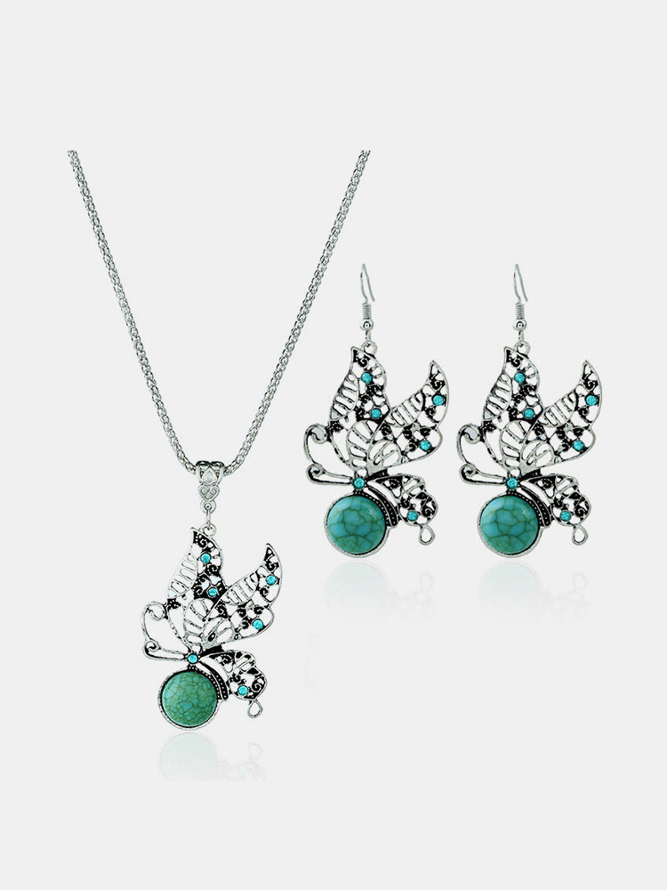 Bohemian Diamond Hollow Butterfly Jewelry Set Turquoise Clavicle Necklaces Drop Earrings for Women