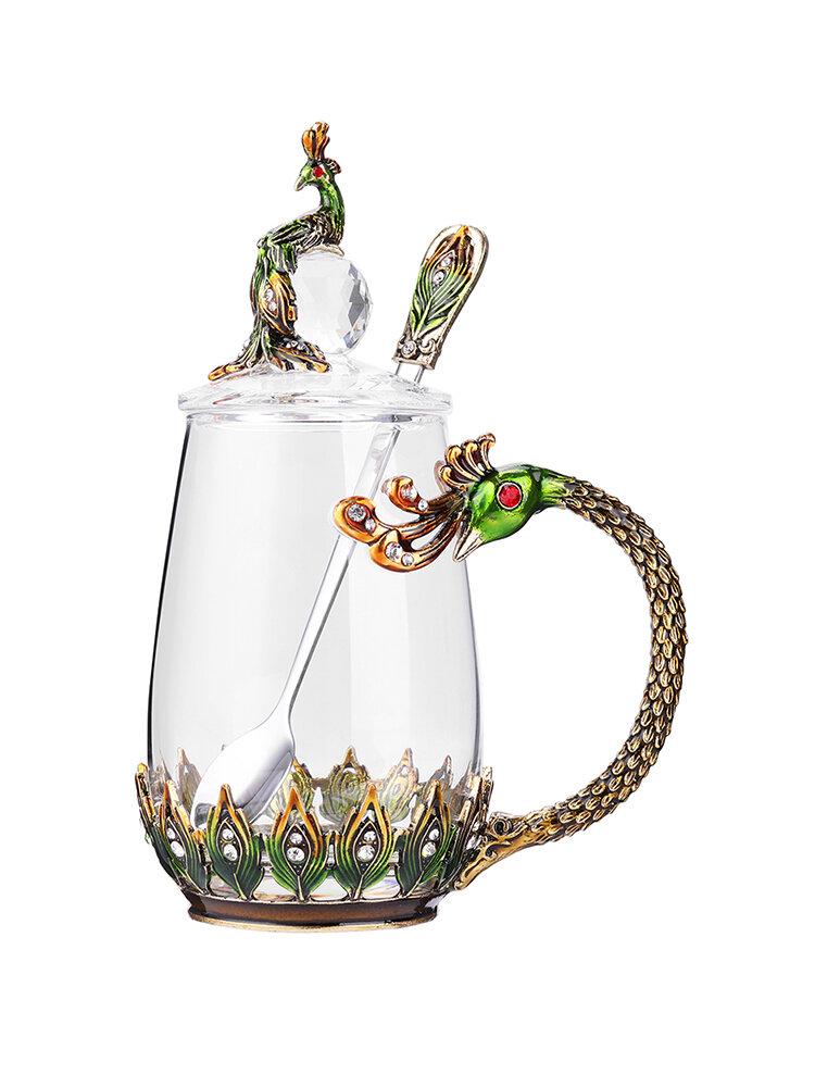 Dragon and Phoenix Cup Enamel Tea Mug Crystal Glass Couple Cup Heat-resistant Elegant Mug