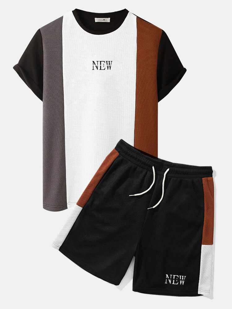 Mens Letter Print Knitted Patchwork Crew Neck Short Sleeve Two Pieces Outfits