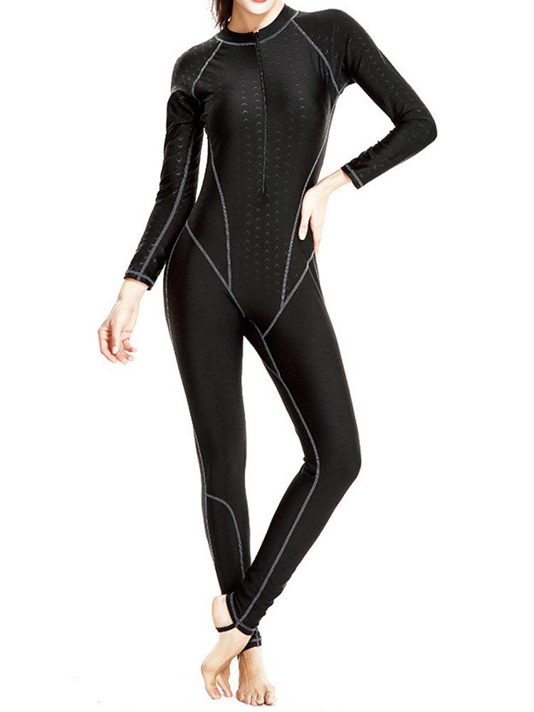 Front Zipper Waterproof Elastic Sunscreen Long Sleeves One Piece Diving Suit For Women