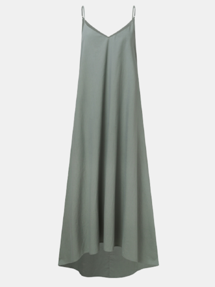 Solid V-neck Straps Plus Size Casual Long Dress