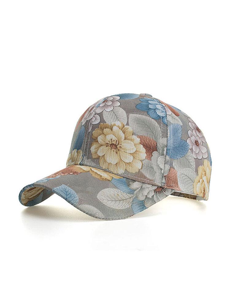Womens Vogue Vintage Wild Printing Flowers Baseball Cap Outdoor Travel Sun Cap
