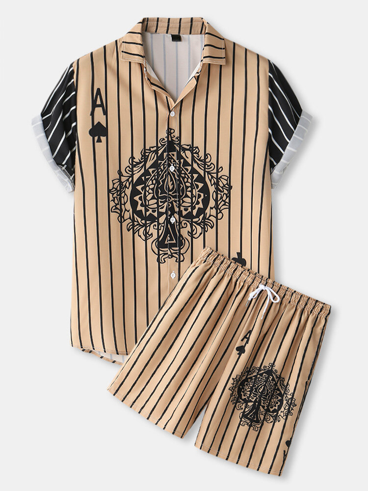 Mens Playing Card Pattern Patchwork Striped Shirt & Shorts Co-ords