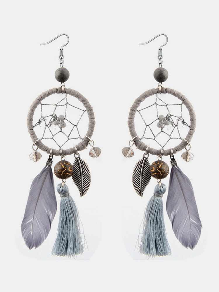 Bohemian Geometric Dreamcatcher Pendant Long Earrings Metal Feather Tassel Turquoise Earrings