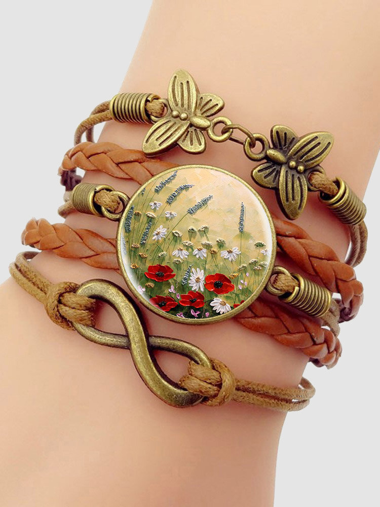 Vintage Red Floral Dog's Tail Grass Pattern Print Butterfly Braided Gemstone Multi-layer Bracelet
