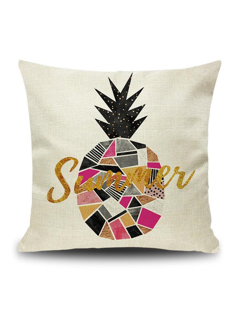 INS Nordic Pineapple Cactus Geometric Style Linen Cushion Cover Home Sofa Art Decor Seat Pillowcases
