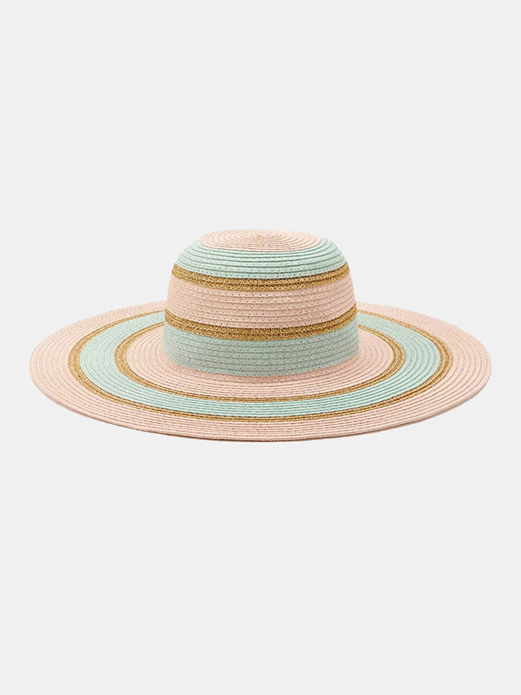 Women Straw Woven Colorful Striped Pearl Decoration Big Brim Sunscreen Breathable Straw Hats
