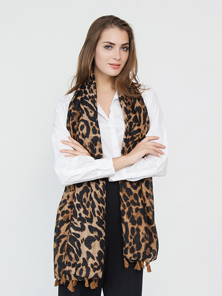 Women Leopard Useful Travel Wild Tassel Cotton And Linen Scarf Outdoor Casual Warm Scarf
