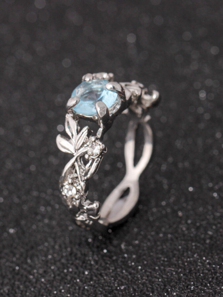 Elegant Blue Crystal Silver Rings Fashion Leaf Shape Ring Best Gift for Women