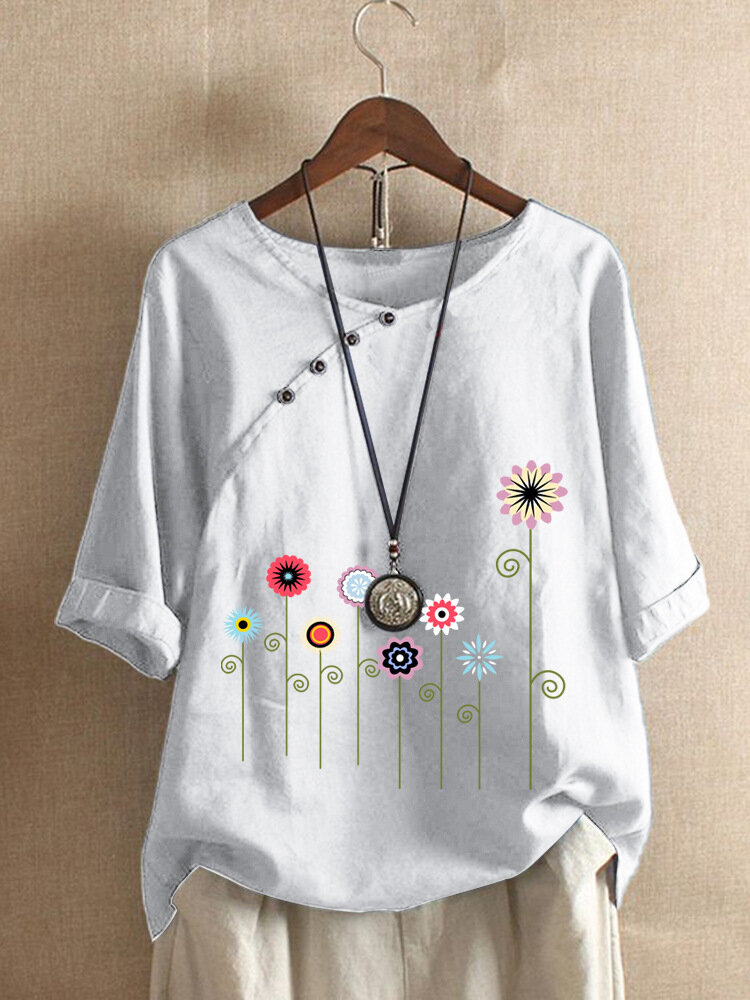 Cartoon Floral Printed O-neck Button Short Sleeve T-shirt