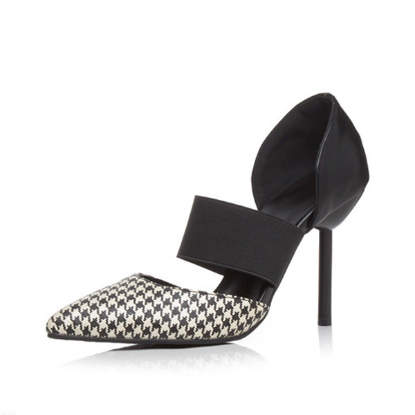Plaid Stripe Check Pointed Toe Slip On High Heel Pumps