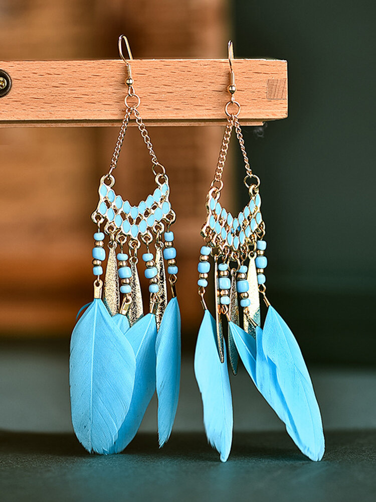 Alloy Feather Bohemia Fringed Feather Earrings Long For Women