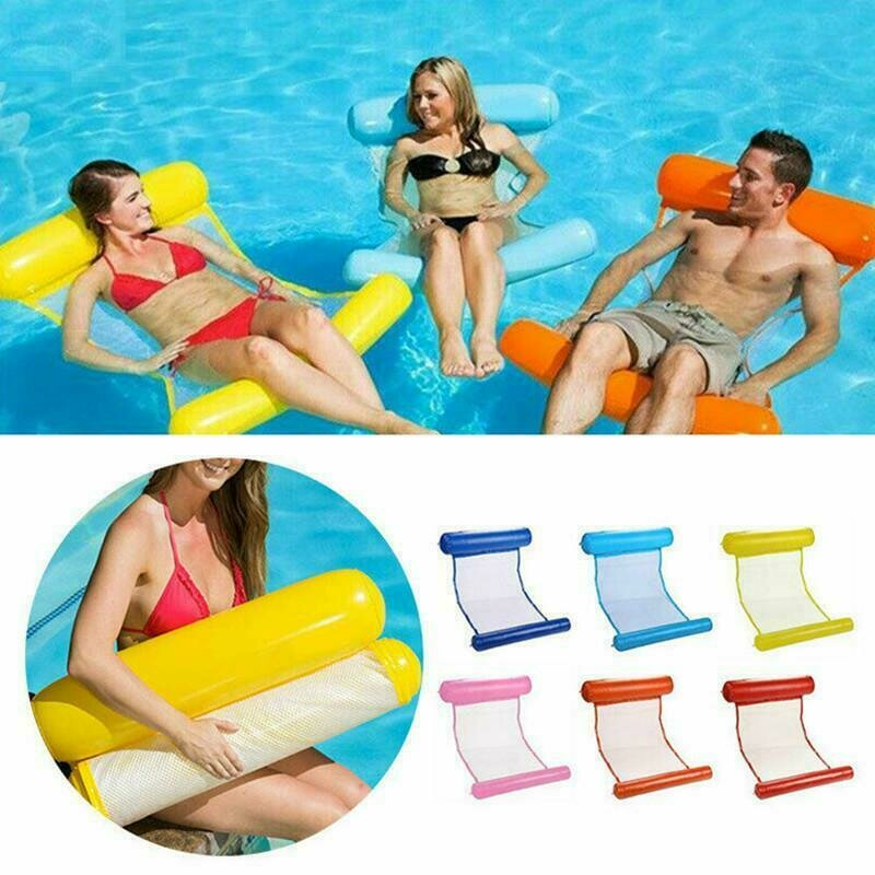 Metallic Sunshade Lounger Removable Top Inflatable Floating Raft Beach Pool Bed