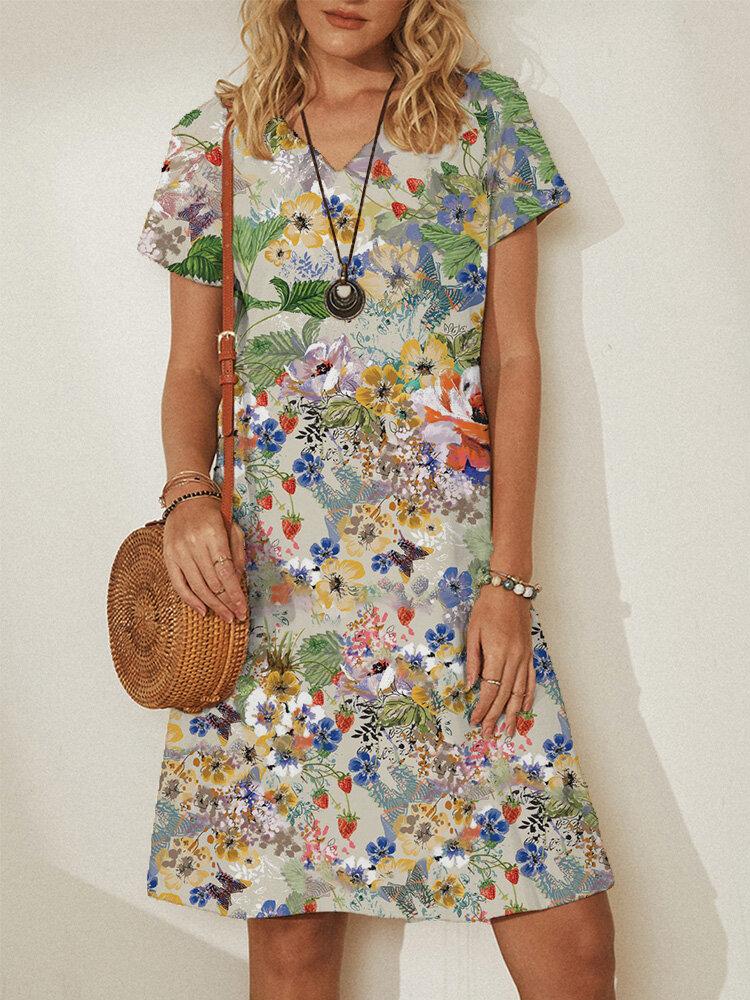Floral Print Short Sleeve Plus Size Midi Dress for Women