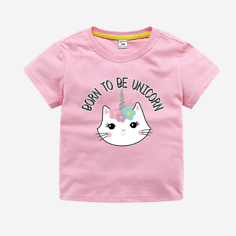 Girl's Cat Unicorn Print Summer Short Sleeve Casual T-shirt For 3-11Y