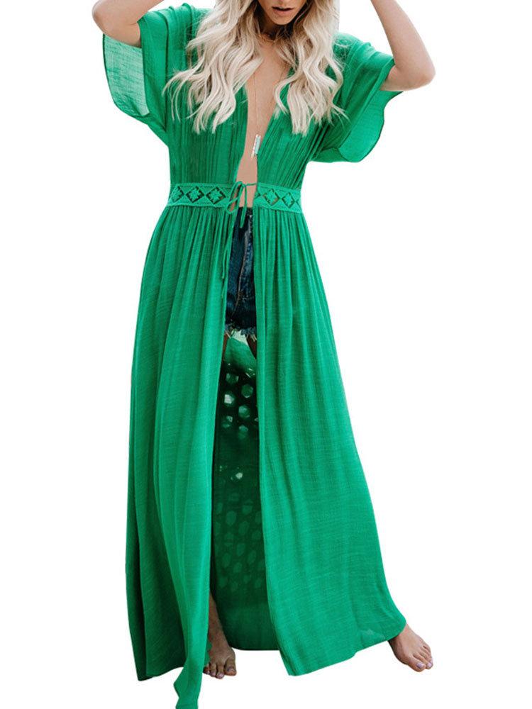 Bamboo Cloth Lace Tie Rope Sunscreen Long Cardigan Beach Dress
