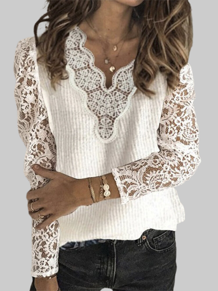 Lace Patchwork V-neck Solid Color Plus Size Casual Sweater