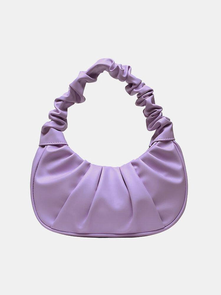 Women Solid Pleated Handbag Shoulder Bag