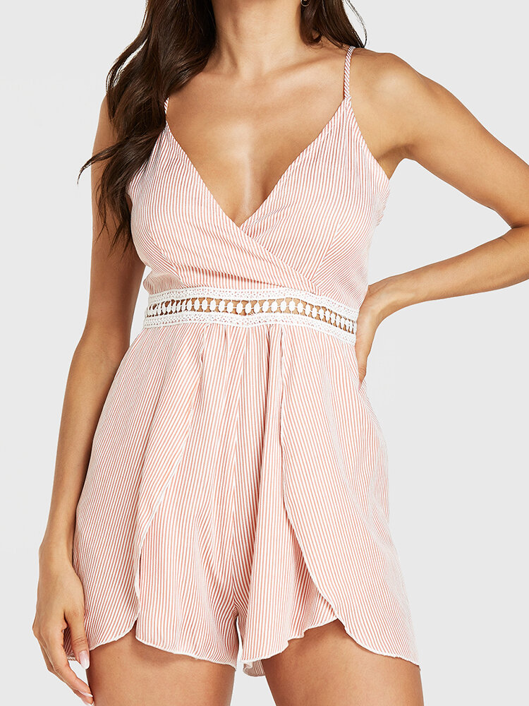 Solid Color Lace Patchwork Asymmetrical Hem Casual Romper for Women