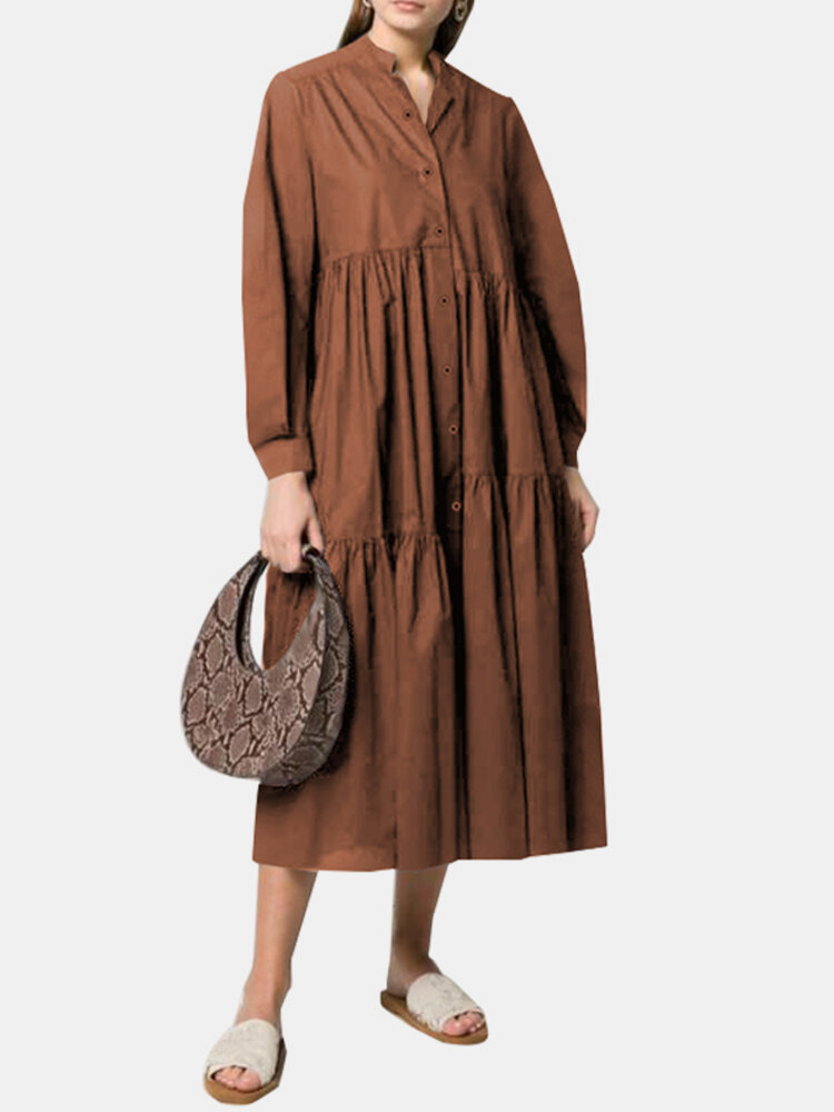 Solid Color Pleated Button Long Sleeve Casual Dress for Women