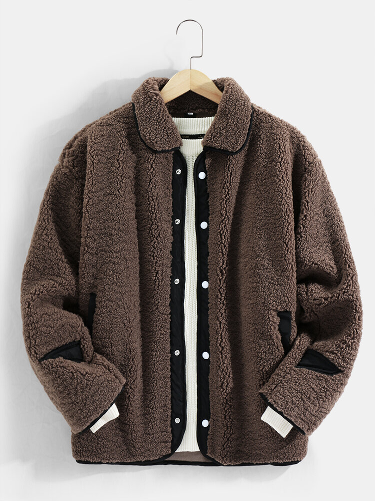 Mens Contrast Snap Button Lapel Casual Warm Teddy Jackets With Pocket