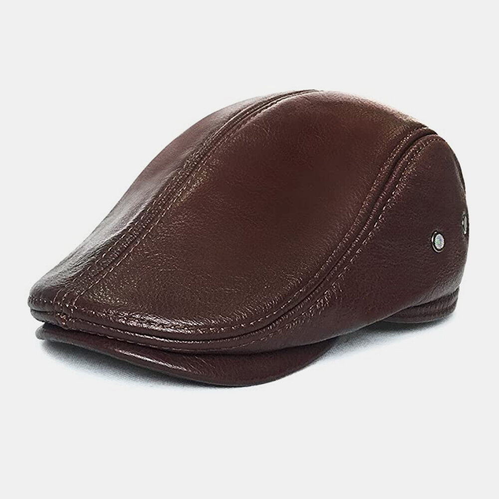 Men Genuine Leather Retro Casual Solid Color Neck Protection Leather Forward Hat Beret Hat