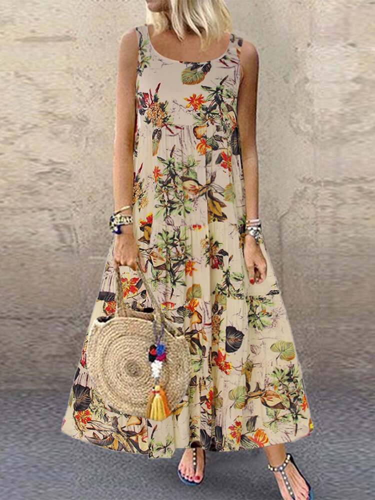 Vintage Floral Print Sleeveless Crew Neck Maxi Dress Plus Size Floral Dresses