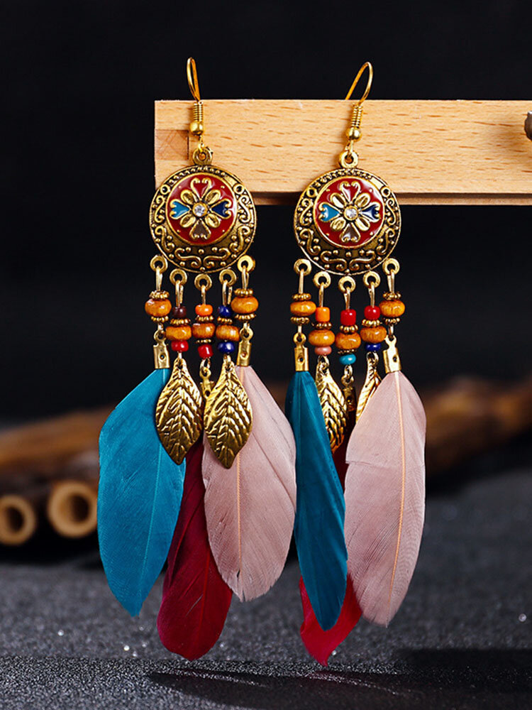 Alloy Vintage Bohemia Round Oil Painting Long Fringed Tassel Feather Earrings