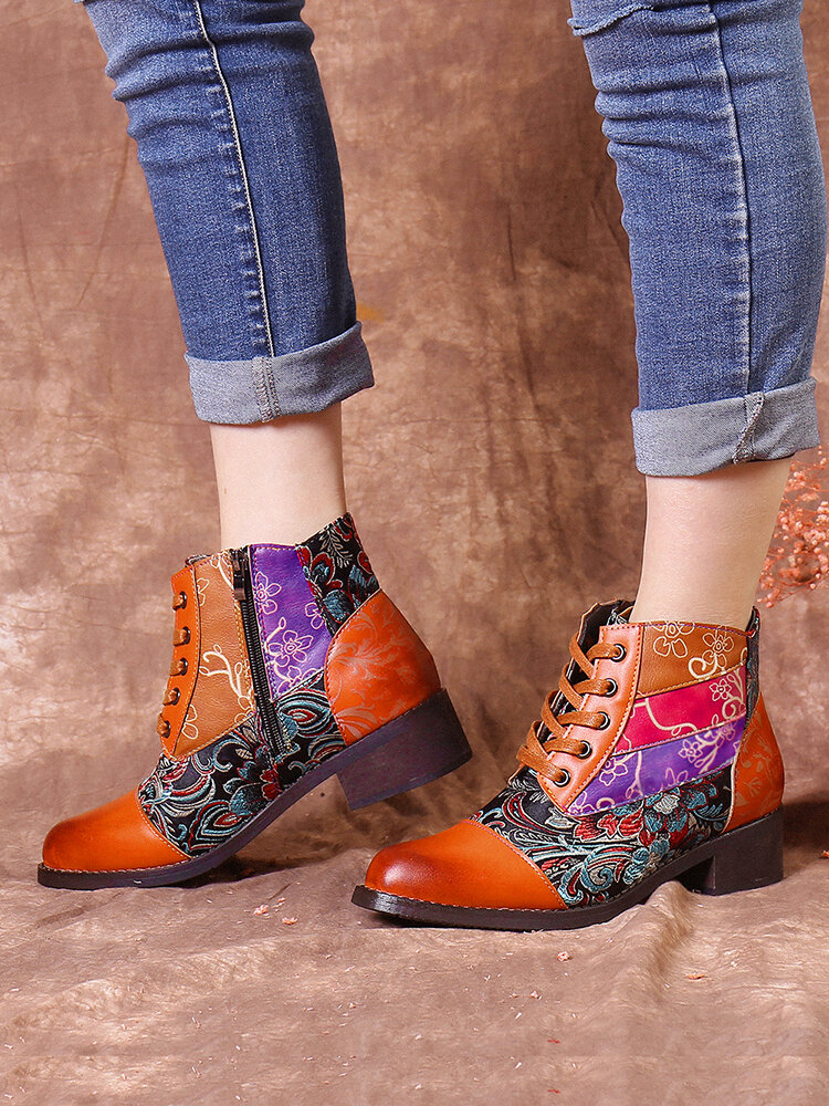 SOCOFY Elegant Floral Pattern Stitching Color Block Comfy Warm Lace Up Zipper Short Boots