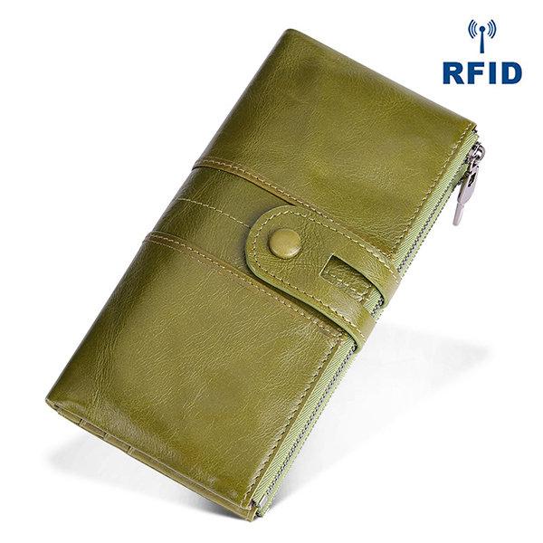 Genuine Leather RFID Antimagnetic Long Phone Wallet Card Holder Phone Bag