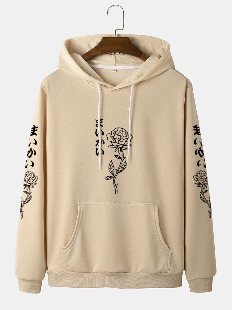 Mens Rose Japanese Print Cotton Drawstring Hoodies With Kangaroo Pocket