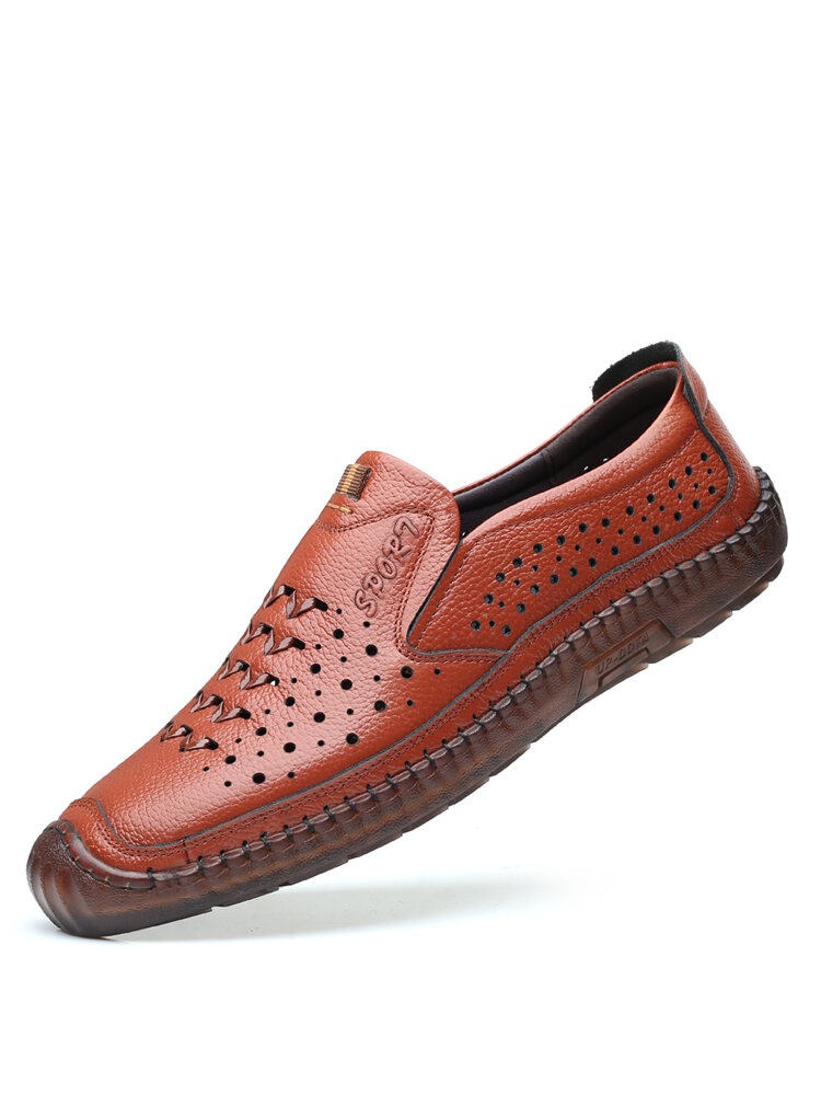 Men Cowhide Leather Slip-on Hard Wearing Breathable Hand Stitching Shoes