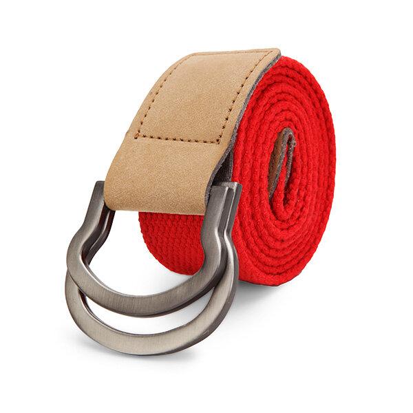 Doppel Ring Loop Canvas Herren Gürtel Legierung Leder Schnalle Hose Streifen