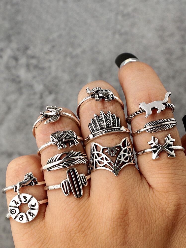 Vintage Geometric Animal Rings Set Hollow Cactus Foxs Knuckle Rings Trendy Jewelry for Women