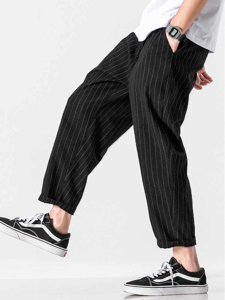 Mens 100% Cotton Striped Breathable Casual Everyday Pants