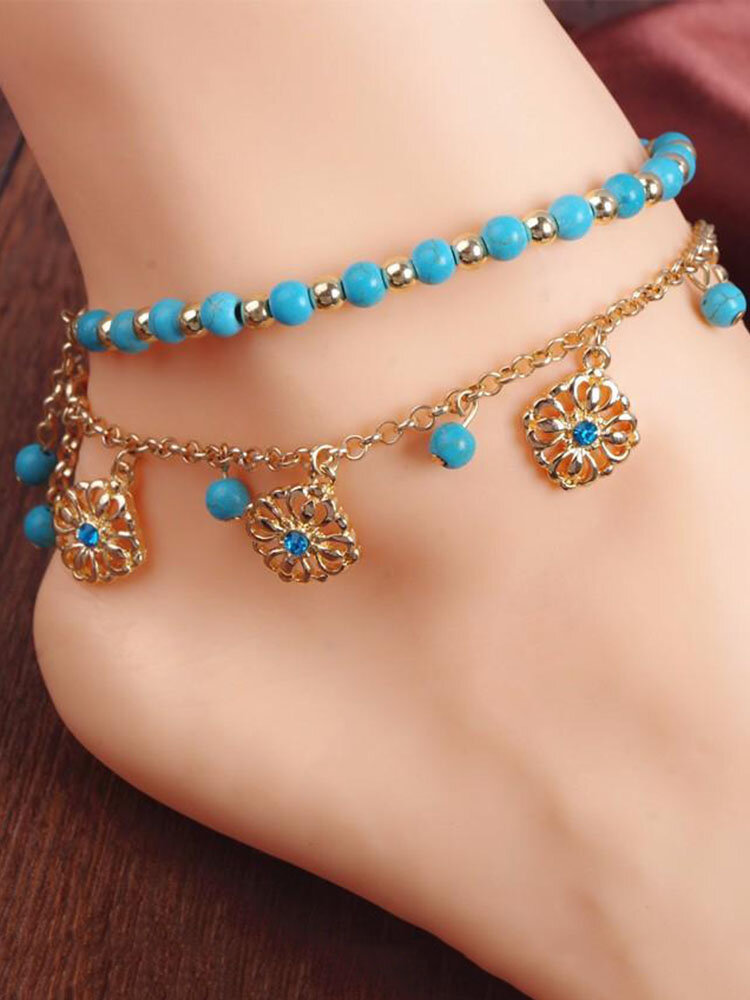 Bohemian Turquoise Beads Alloy Chain Anklet