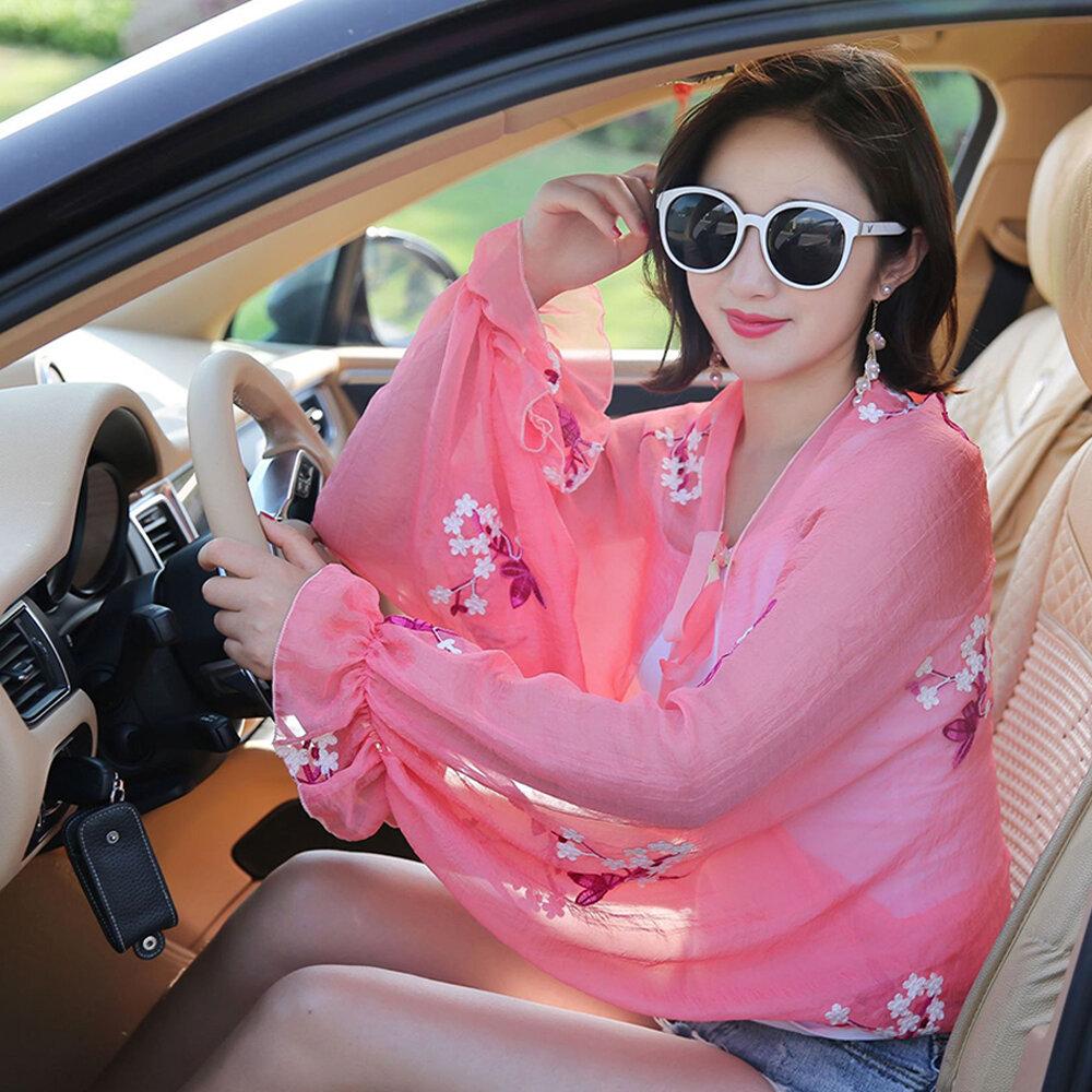 Embroidered Applique Chiffon Sunscreen Sleeve Shawl Summer Women Sunscreen Clothing