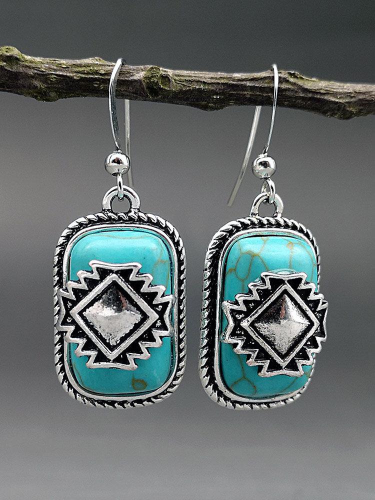 Vintage Rectangle Shield Women Earrings Turquoise Pendant Earrings Jewelry Gift
