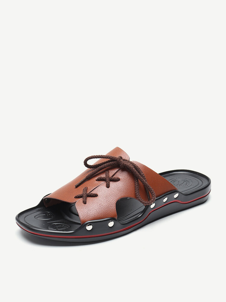Men Pure Color Leather Slip Resistant Soft Sole Casual Beach Slippers