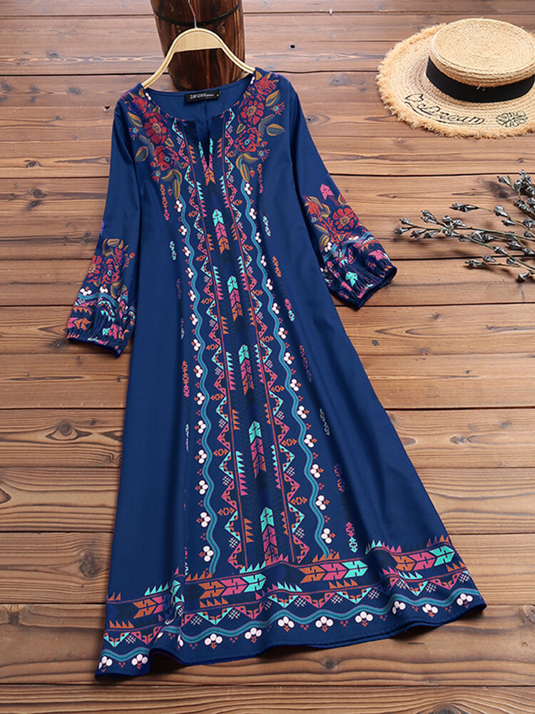 エスニックプリントハーフスリーブAラインエレガントPlusサイズのドレス