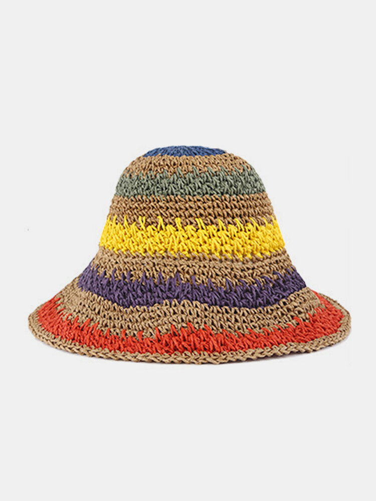 Wowen Striped Rainbow Contrast Color Beach Casual Foldable Straw Hat